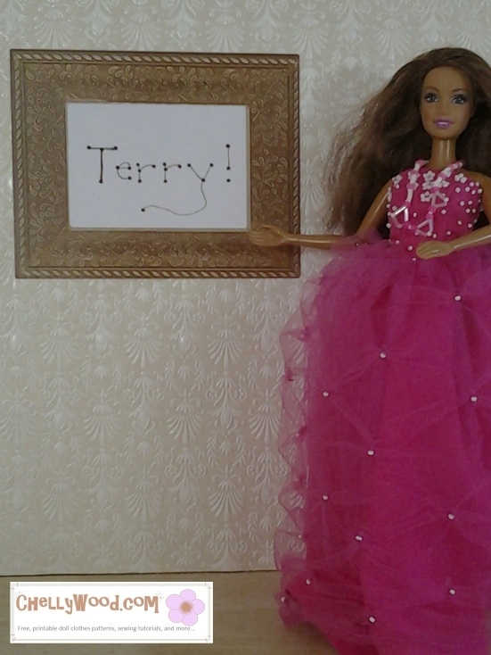 Visit ChellyWood.com for free, printable doll clothes patterns for this dress and other doll clothes.
