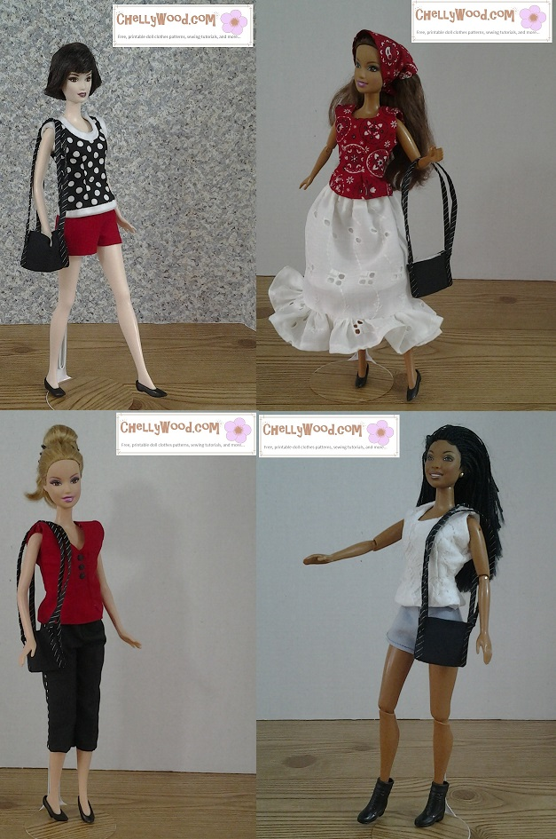 Image of four different Barbie dolls in summer clothing including sleeveless tops, shorts, capri pants, and an eyelet skirt