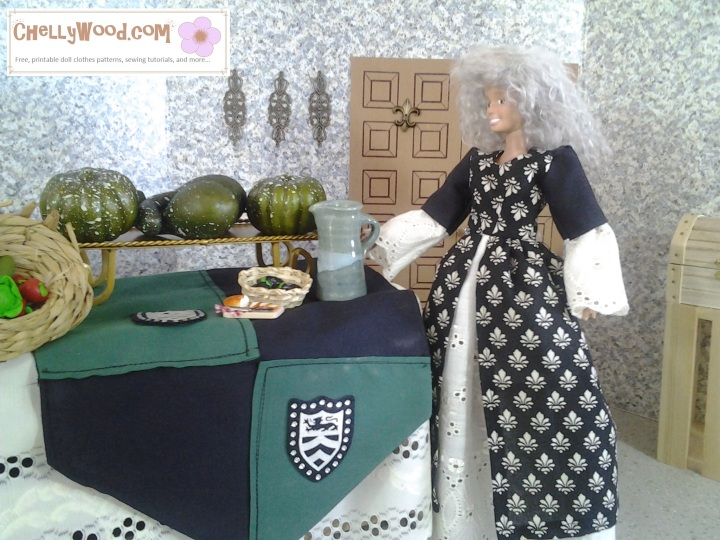 Image of Barbie wearing grey wig and dressed in a Renaissance-style gown, overlooking a medieval feast.
