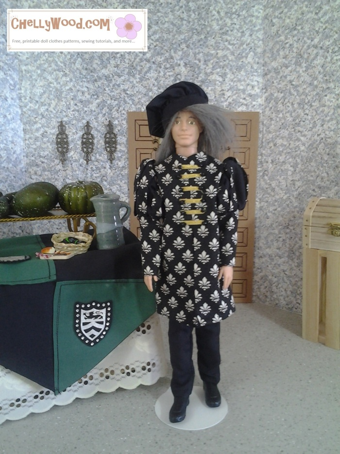 Image of Ryan doll dressed in grey wig, muffin cap, and slashed-sleeve shirt