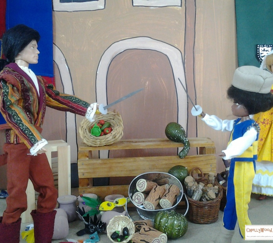 Image of Sam Caflin doll dressed in Renaissance costume and brandishing a sword against another doll as his opponent in a marketplace.