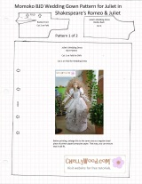FREE #Momoko #Blythe and #Pullip Wedding Dress Pattern @ ChellyWood.com