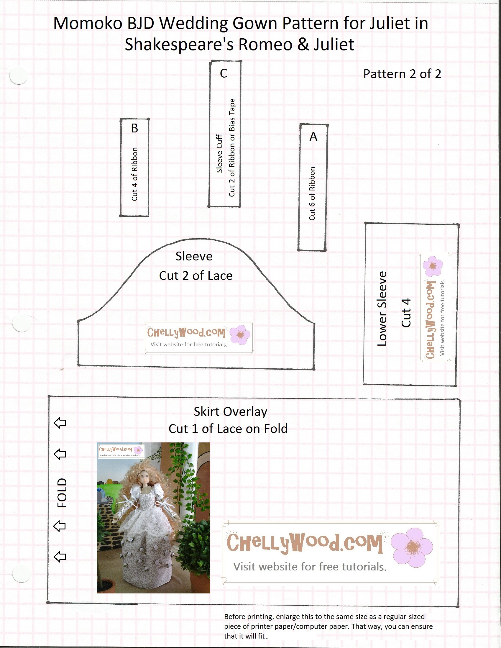 Diy wedding gown for momokodoll w free pattern chellywood pattern 2 jeuxipadfo Image collections