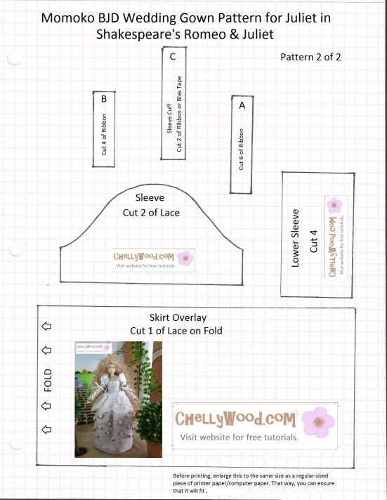 Image of Sewing pattern for the bodice portion of a wedding gown that fits Momoko Blythe or Pullip dolls