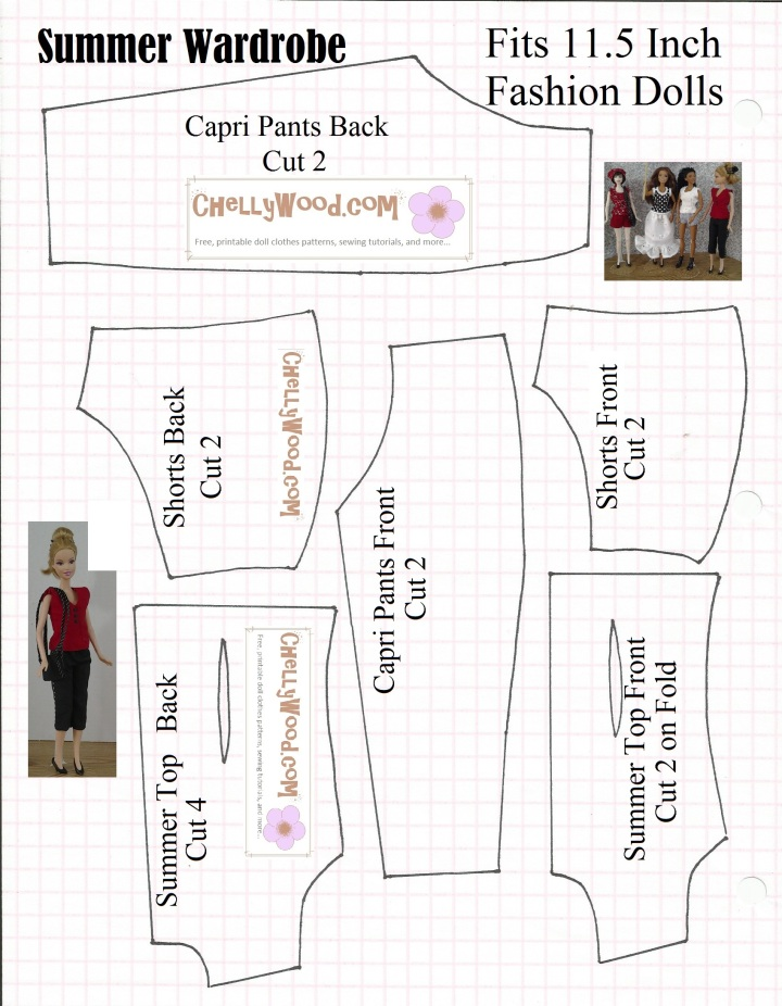 Sewing pattern for Barbie-sized (fashion doll-sized) summer wardrobe including capri pants, shorts, and a sleeveless top.