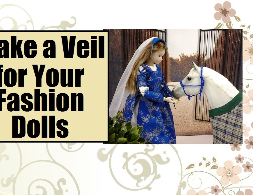 "Image of Momoko bjd in royal ball gown with elegant veil and Breyer model horse. Overlapping words read ""Make a veil for your fashion dolls."""