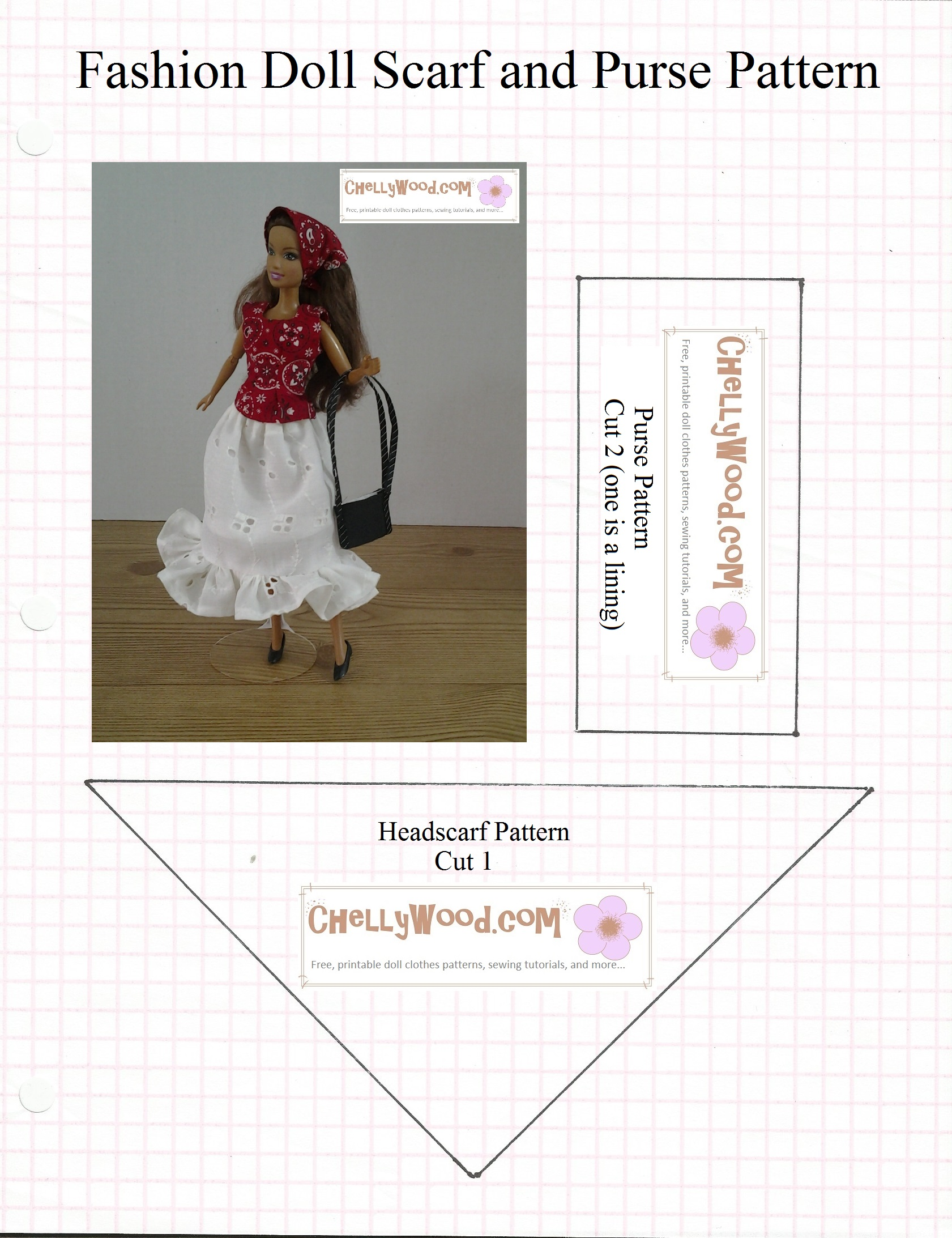 Headscarf pattern for fashiondolls is free chellywood for making this easy to sew headscarf jeuxipadfo Gallery
