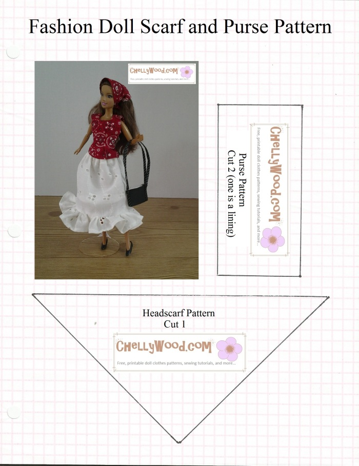 Image of Barbie doll wearing babushka style headscarf and carrying a black purse with long shoulder strap beside sewing patterns for making the headscarf and purse