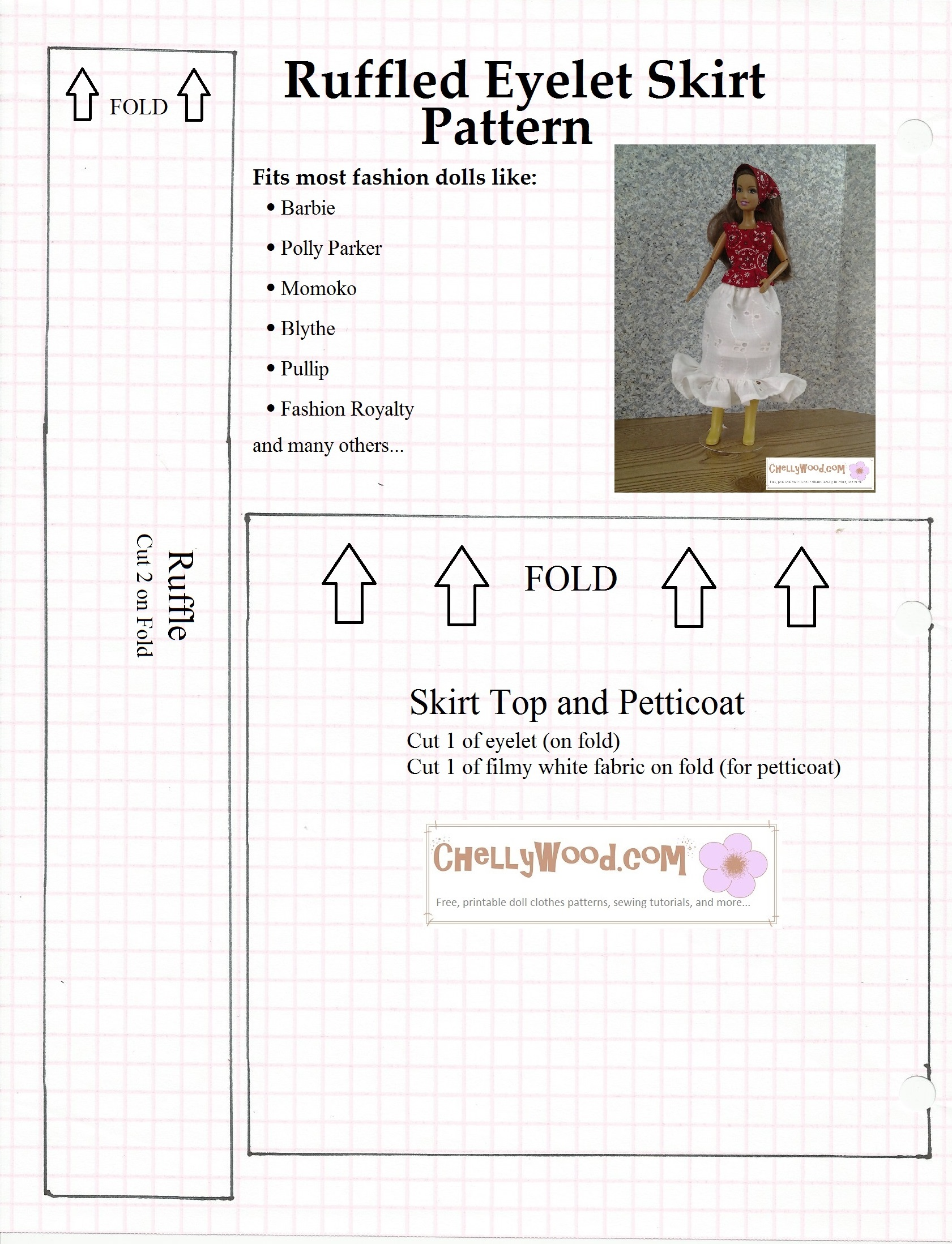 picture about Free Barbie Clothes Patterns Printable named Barbie Skirt Layouts Absolutely free Printable Pdf DACC