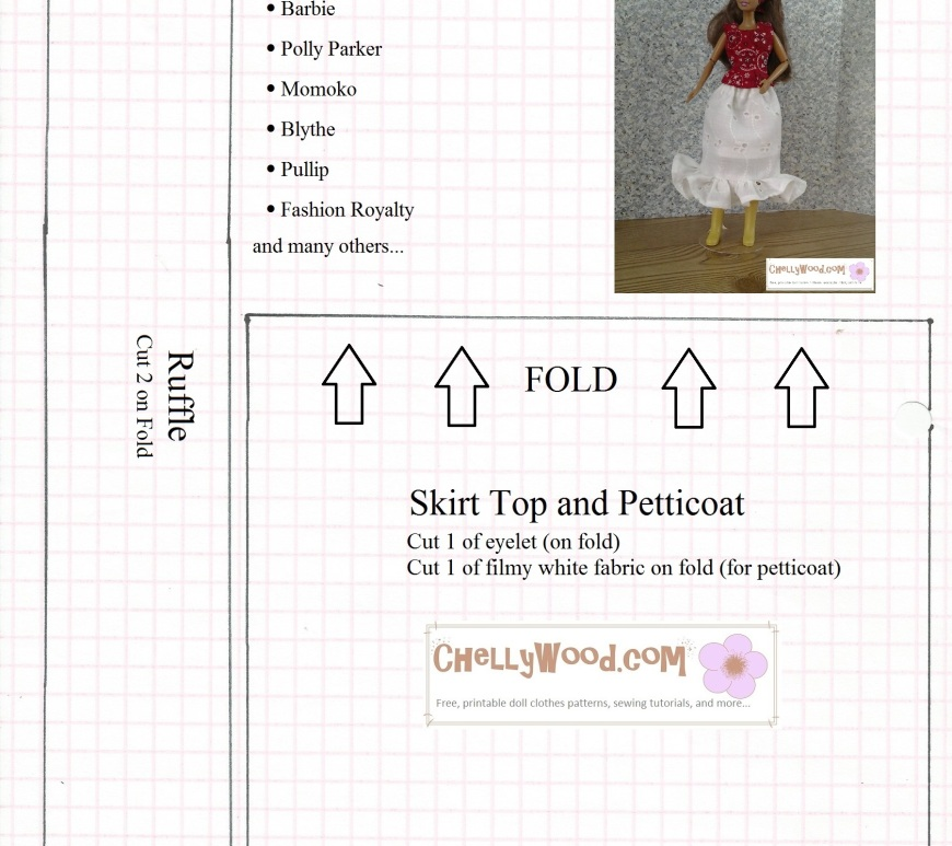 Image of sewing pattern for making a ruffled eyelet skirt that fits Barbie, Polly Parker, Momoko Dolls, Blythe Dolls, Pullip Dolls, and Fashion Royalty dolls among others.