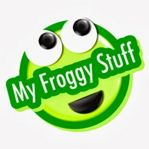 """Image of green face with large eyes and overlaid words say """"My Froggy Stuff"""""""