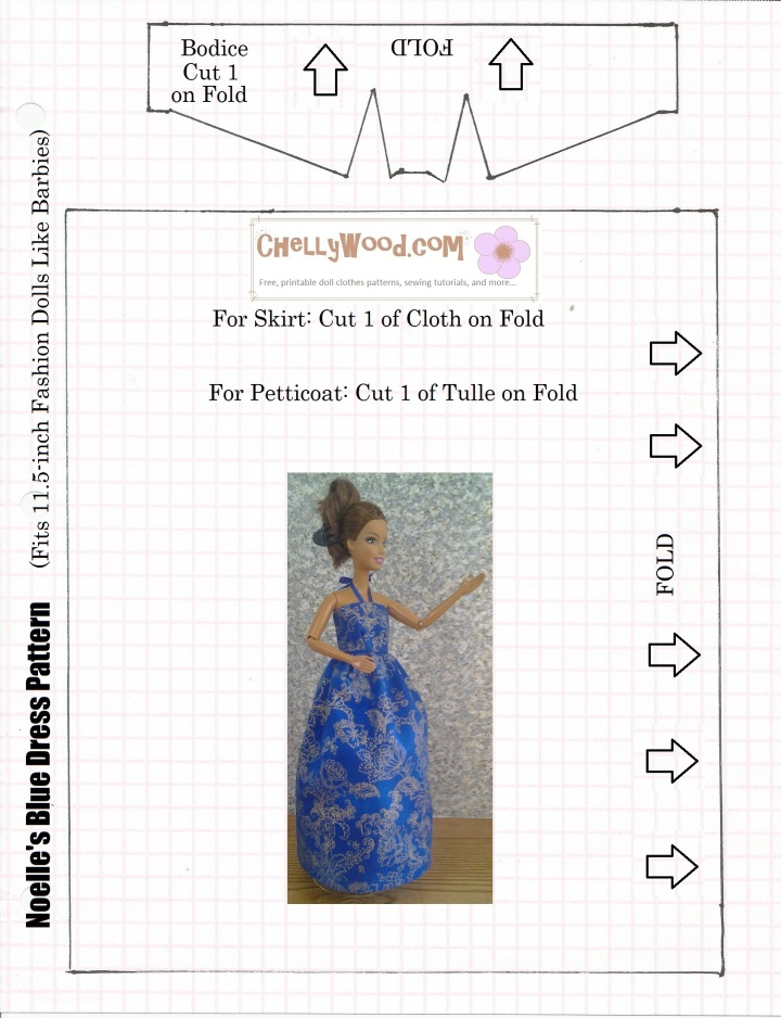 Image of ball-gown halter-style dress pattern with overlaid image of barbie doll wearing the dress made from this pattern