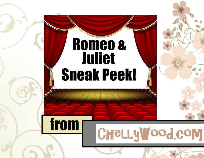 """Image of theater with curtains opening to the words """"Romeo and Juliet Sneak Peek!"""""""