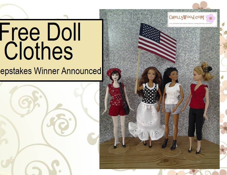 Image of four fashion dolls wearing various summer outfits and the central doll is waving an American Flag as if cheering at a parade.