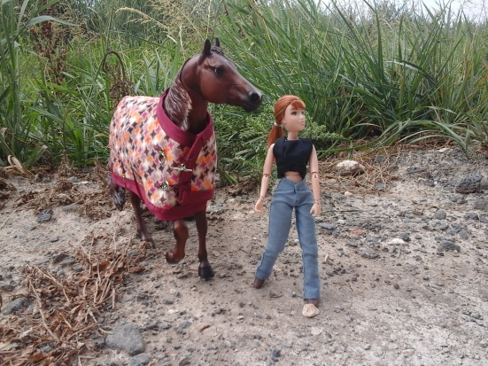 Image of Breyer horse TopSails Rienmaker with Laura Veterinarian Breyer doll. Model horse wears handmade blanket decorated in diamond-shaped pattern and framed with bias tape in elegant merlot color. Fasteners hold the blanket in place at the front of the model horse.