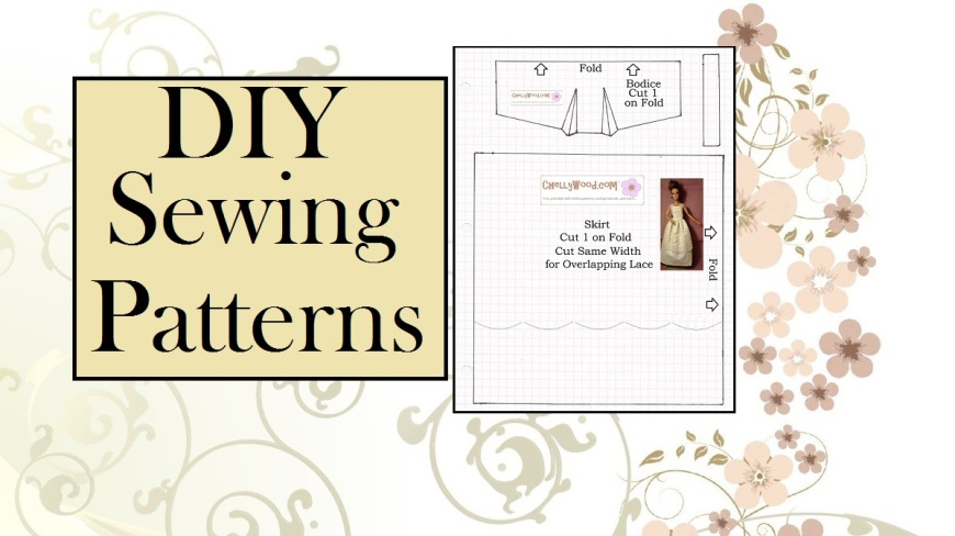 """Image of doll clothing pattern with overlay of words """"D.I.Y. Sewing Patterns"""""""