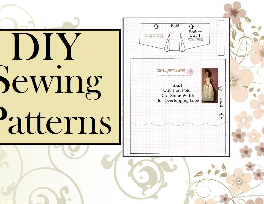 "Image of doll clothing pattern with overlay of words ""D.I.Y. Sewing Patterns"""