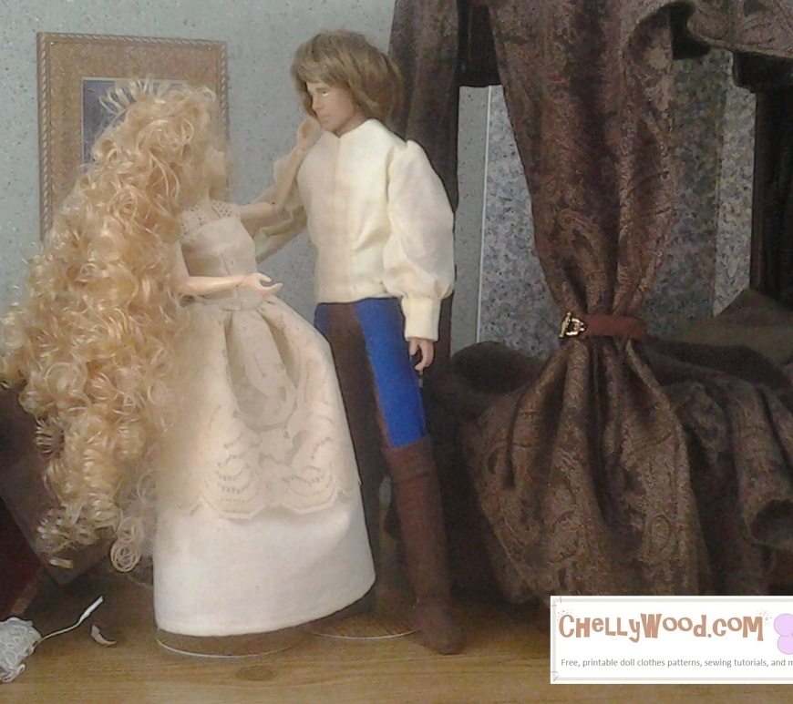 Image of Momoko doll standing next to Ken doll. Momoko doll wears a lace and cotton/polyester shift (undergarment worn as a night gown) and Ken doll wears a puff-sleeve shirt with bi-colored Renaissance pants and boots. They stand next to a four-poster bed made for dolls.
