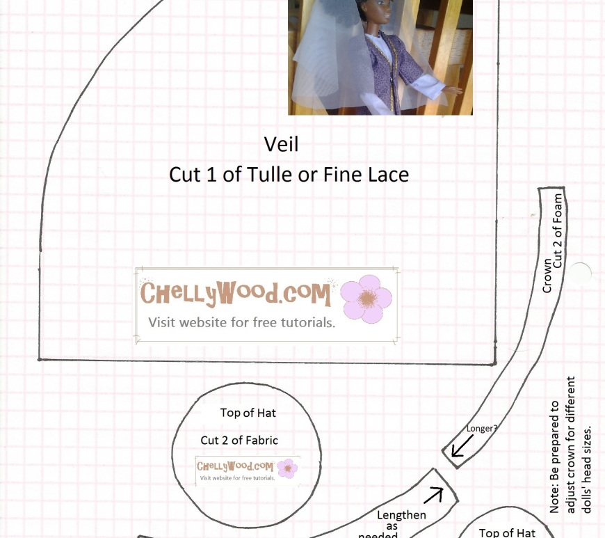 Image of sewing pattern for doll hat and veil