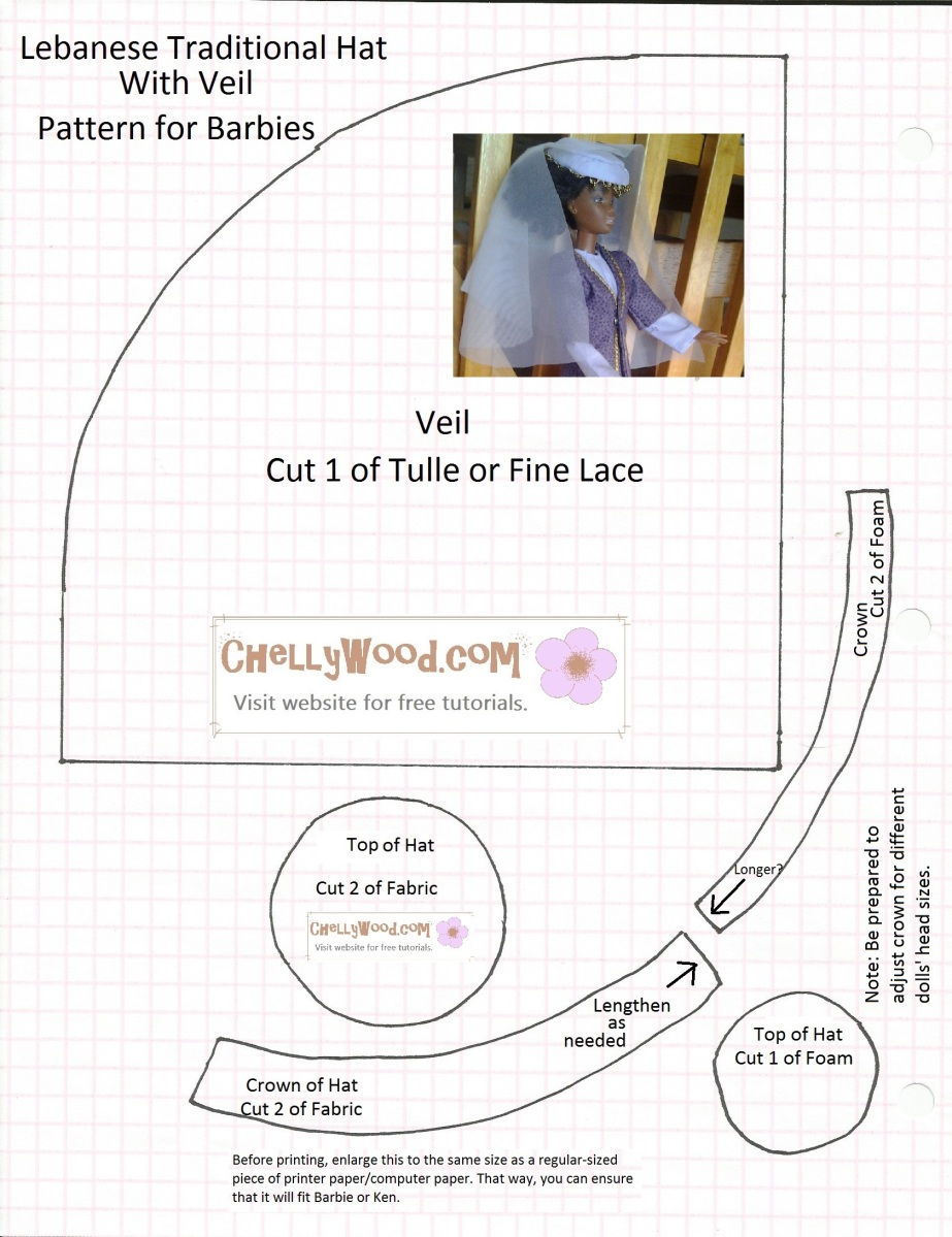 Sew a #Lebanese-Style Hat and Veil for Barbie and Other Fashion Dolls ...
