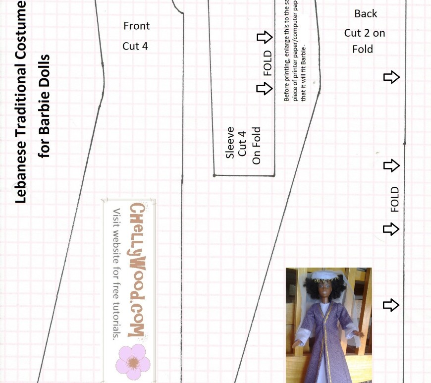 Image of sewing pattern for making a Lebanese traditional dress that fits Barbie-sized fashion dolls. Inlaid within the dress pattern is a photograph of a Barbie doll wearing the dress this pattern makes.