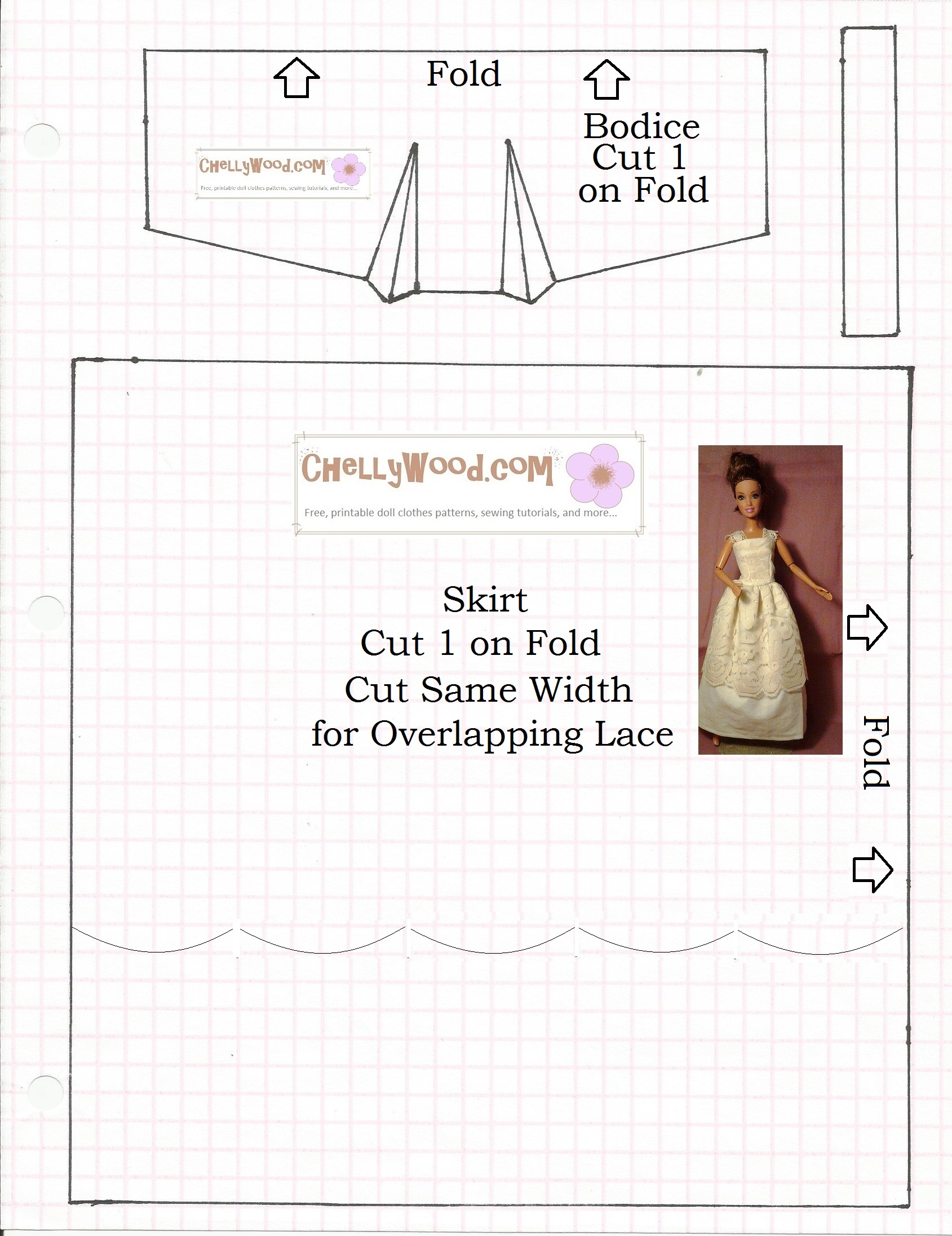 picture relating to Printable Barbie Clothes Patterns identified as Barbie Gown Practices Cost-free Printable Pdf - raveitsafe