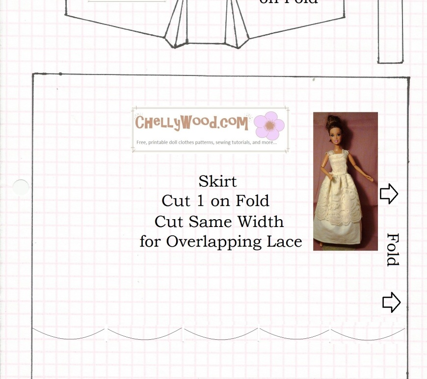 Image: sewing pattern for fashion doll strapless or lace-strap evening wear, negligee, or nightgown.