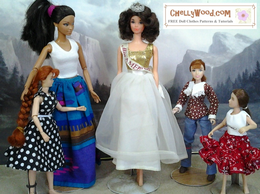 Image shows three Breyer dolls standing next to two Barbie dolls, as a size-comparison.