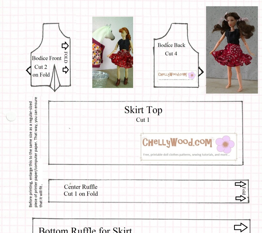 "Image shows sewing pattern for doll skirt and crop top with words ""fits 8 inch dolls"""