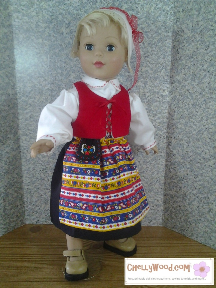 "Image of 18"" doll dressed in traditional Swedish costume of Leksand, Dalarna, Sweden"