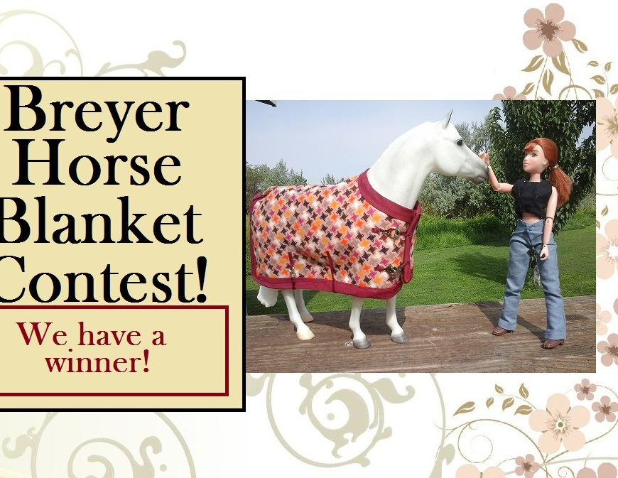 """Image of model horse (Breyer Horse """"Snowman"""") wearing handmade horse blanket and standing near Breyer doll 8"""" eight inch doll in handmade jeans and shirt with overlay of words """"Breyer Horse Blanket Contest"""""""