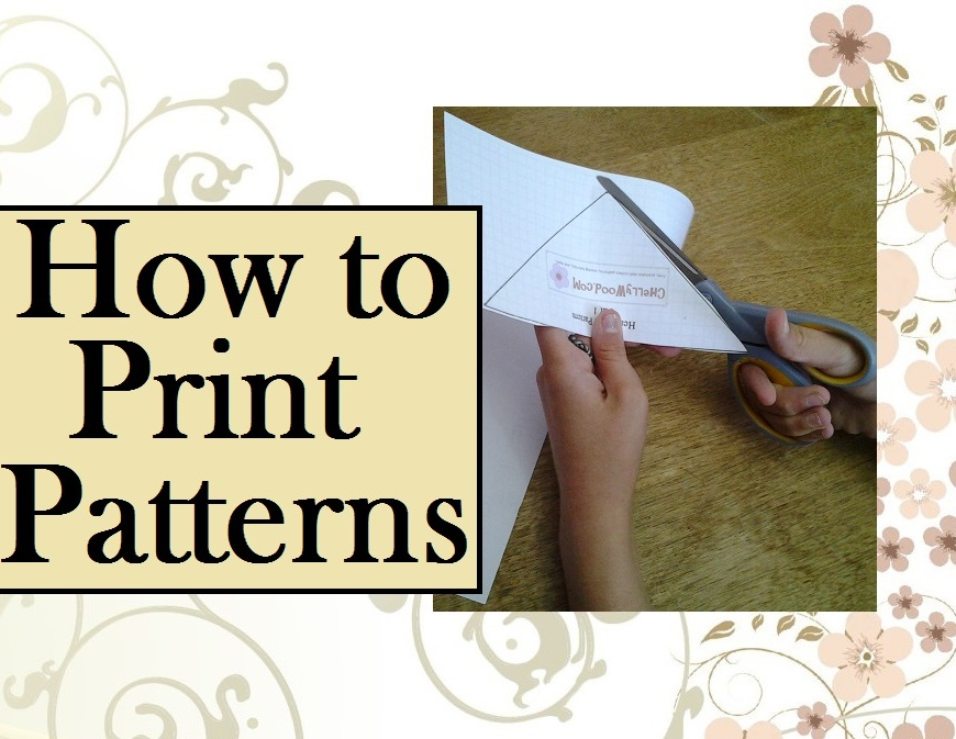 "Image of girl's hands cutting out a sewing pattern overlaid with words ""How to Print Patterns"""