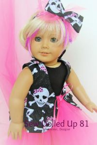 Image of American Girl doll in Jolly Roger pink and black tutu outfit with hair streaked pink