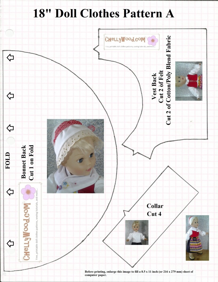 Image of sewing patterns used to make a hat, vest, and collar for American Girl dolls or other 18 inch dolls