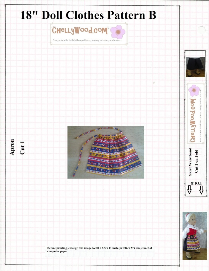 Image of 18-inch doll wearing printed apron with patterns to make apron for 18-inch dolls. This pattern is free to print.