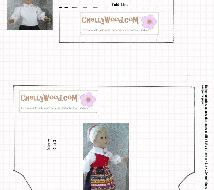 "Image of American Girl Knockoff Doll, 18 inches high, wearing a traditional Swedish costume with bonnet, vest, long-sleeved blouse/shirt, skirt, apron, and ""pocket"" purse. Pattern includes sleeve and cuff -- free to print. Visit ChellyWood.com for the rest of the costume's free printable sewing patterns."