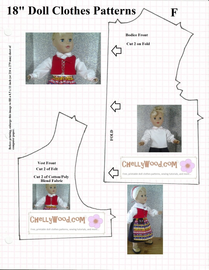 "Image of shirt bodice pattern and vest pattern with 18"" doll image overlaid. The doll models the shirt and vest in the images. Shirt is white with a collar. Vest laces up the front in a traditional, medieval, or Renaissance style, like one might see in fairy tales."