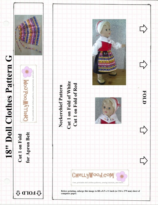 Image of 18-inch doll (looks a lot like American Girl or AG doll) wearing a traditional Swedish costume. Pattern displayed is free to print. Design made by Chelly Wood of ChellyWood.com