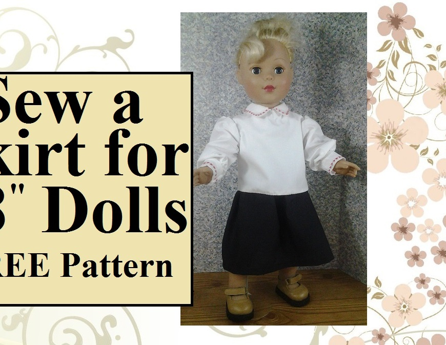 "Image of American Girl Knockoff doll wearing a simple black skirt with gathered waist and white collared shirt with cuffs. Overlay says, ""Sew a Skirt for 18-inch dolls with free sewing pattern"""