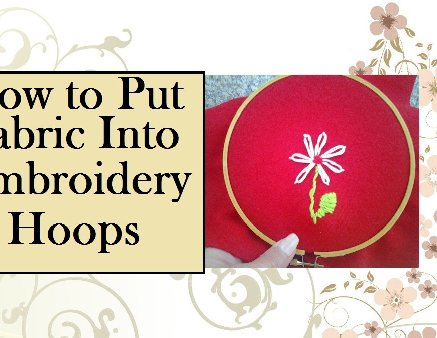 "Click on the link provided with the image's caption, in order to get to the tutorial video. This image shows red felt fabric inside a bamboo embroidery hoop. The wording says, ""How to put fabric into embroidery hoops"" and the image is associated with a tutorial video found at ChellyWood.com"