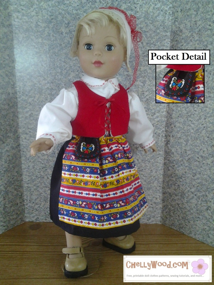 """Image of 18-inch doll wearing traditional Swedish folk costume with enlarged detail of an embroidered """"Pocket"""" purse."""
