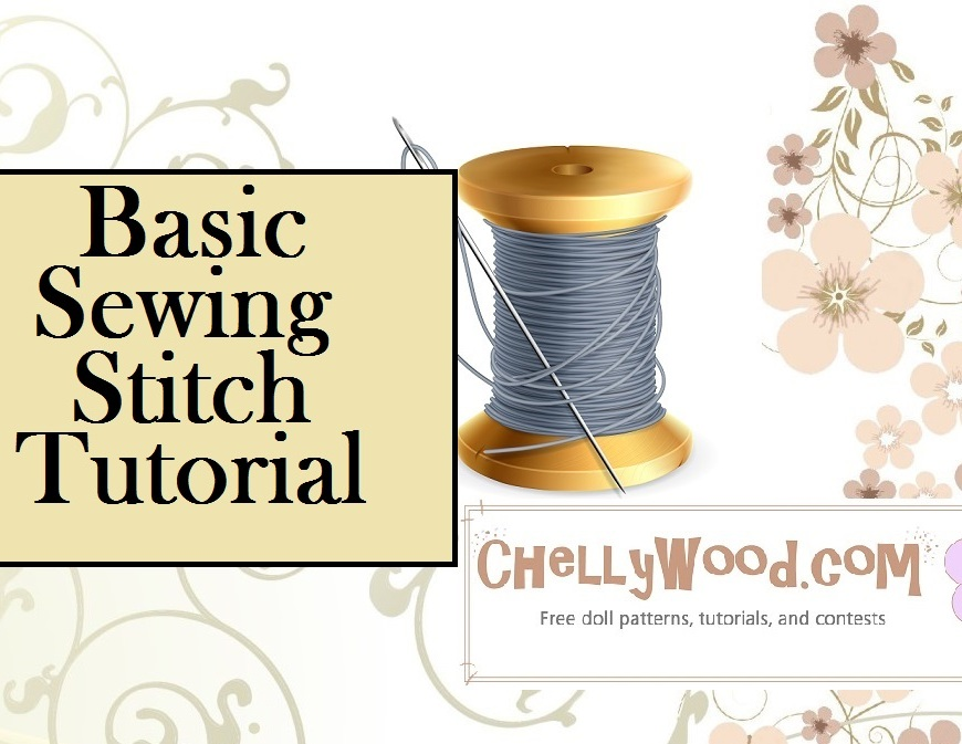 "Image of spool of grey thread with needle through it. Overlay says, ""Basic Sewing Stitch Tutorial"""