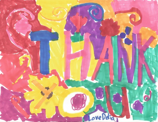 "Image of a child's colorful artwork, made with swirls and blotches of color. Overlaying words say, ""Thank you, love Delia."""