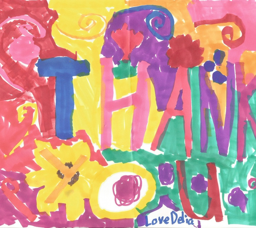 """Image of a child's colorful artwork, made with swirls and blotches of color. Overlaying words say, """"Thank you, love Delia."""""""