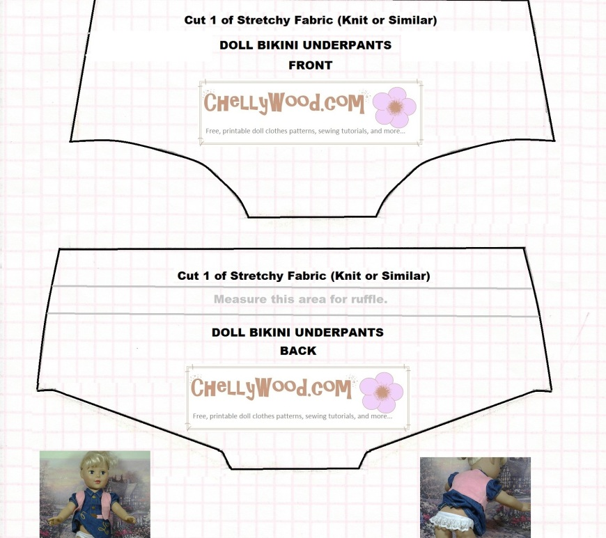 Image of 18-inch doll bikini underpants or swimsuit bottoms sewing pattern fits American Girl dolls and Madame Alexander Dolls
