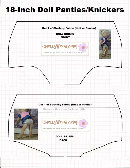 Image of doll underwear pattern (briefs) to fit 18 inch dolls like American Girl Dolls, Journey Girls, Madame Alexander dolls, etc. Free printable pattern for sewing dolly underwear (knickers)