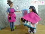 Free pattern for sewing a #dolls #hairdresser smock and #apron at ChellyWood.com