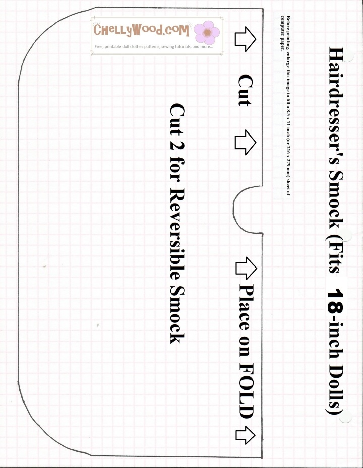 """Image of sewing pattern for a hairdresser's smock that fits dolls. Heading on pattern says, """"Hairdresser's smock (fits 18-inch dolls)."""""""