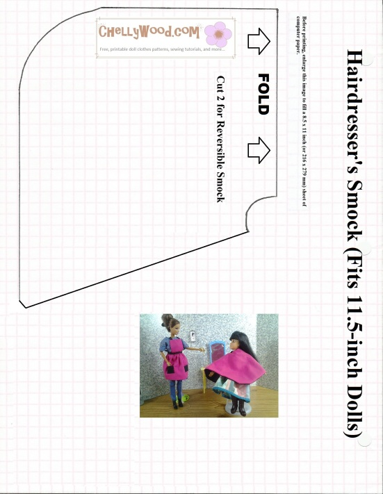 Image of hairdresser's smock sewing pattern designed to fit Barbie-sized dolls.