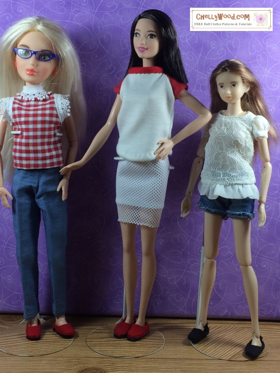 "Image of three dolls wearing handmade shoes: Liv Doll by Spinmaster, Tall Barbie from Mattel, and Momoko doll from Sekiguchi Japan. Overlapping words say, ""ChellyWood.com: Free printable sewing patterns for dolls of many shapes and sizes"""